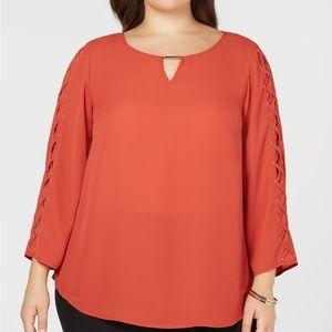 JM Collection Plus Size Lace-Up Sleeve Top, 2X
